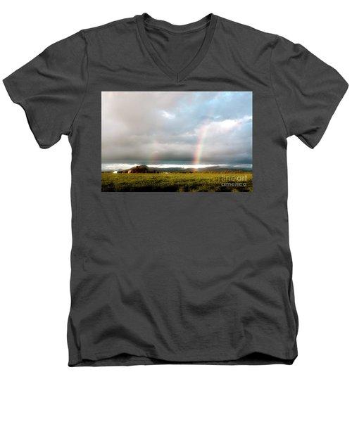 Valley Rainbows 1 Men's V-Neck T-Shirt by Janie Johnson