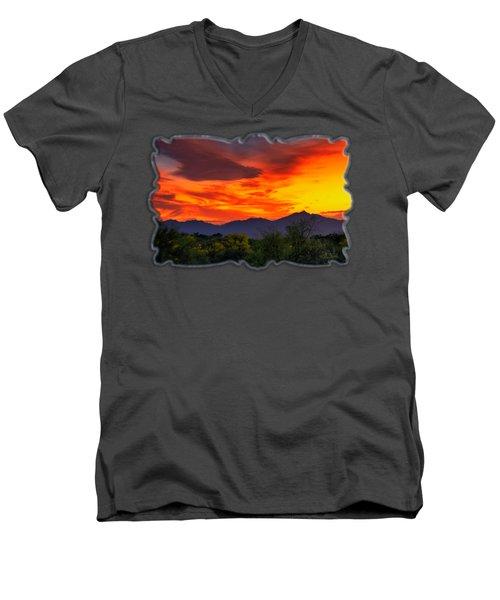 Valley Sunset H32 Men's V-Neck T-Shirt by Mark Myhaver