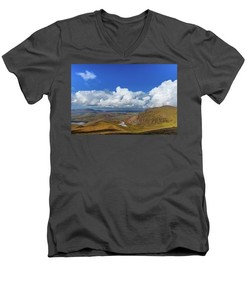 Men's V-Neck T-Shirt featuring the photograph Valleys And Mountains In County Kerry On A Summer Day by Semmick Photo