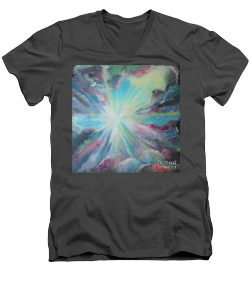 Men's V-Neck T-Shirt featuring the painting Inspire by Stacey Zimmerman