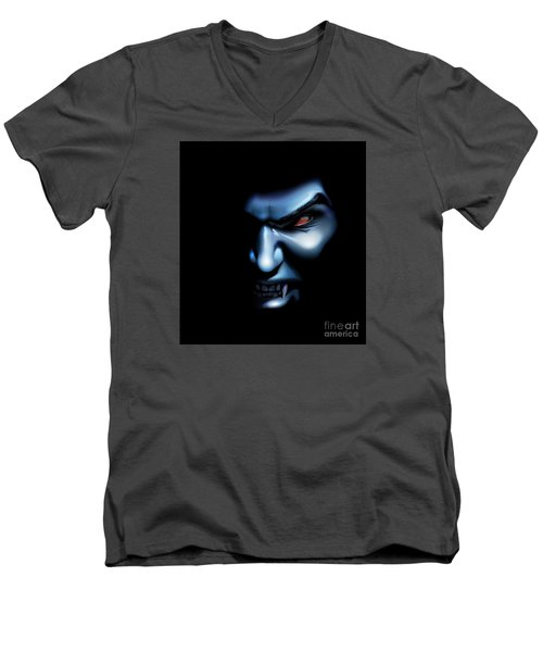 Men's V-Neck T-Shirt featuring the drawing Vampires Rage by Brian Gibbs