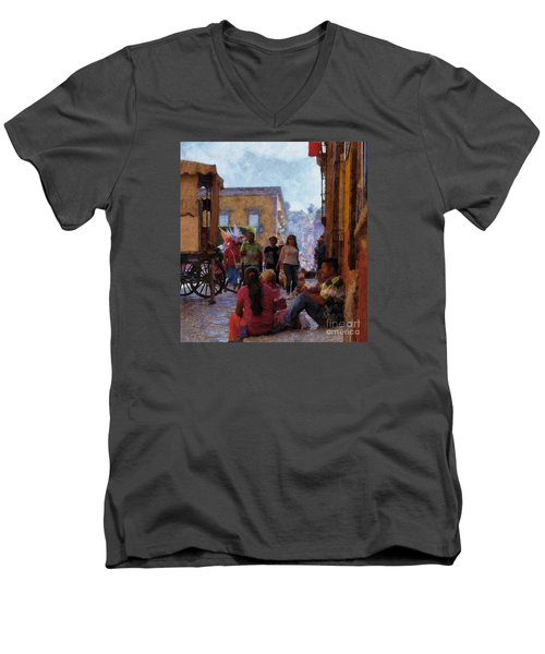 Men's V-Neck T-Shirt featuring the photograph Van Gogh Visits Mexico by John  Kolenberg