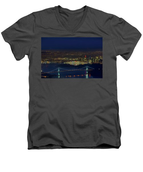 Vancouver Bc Cityscape By Lions Gate Bridge Men's V-Neck T-Shirt