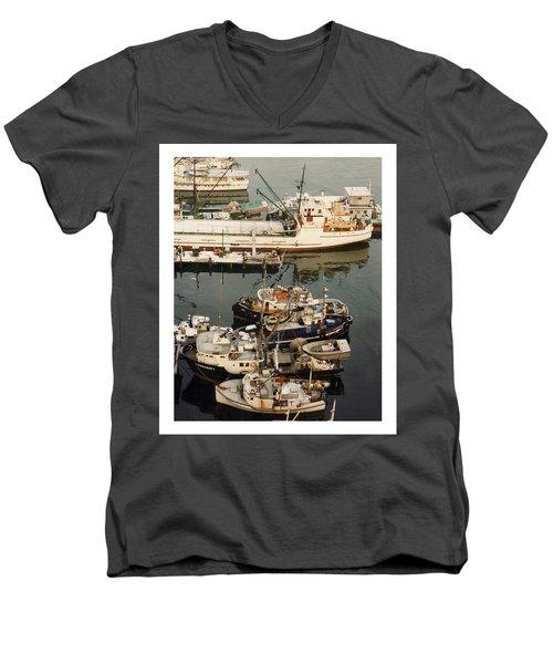 Men's V-Neck T-Shirt featuring the photograph Vancouver Harbor Fishin Fleet by Jack Pumphrey