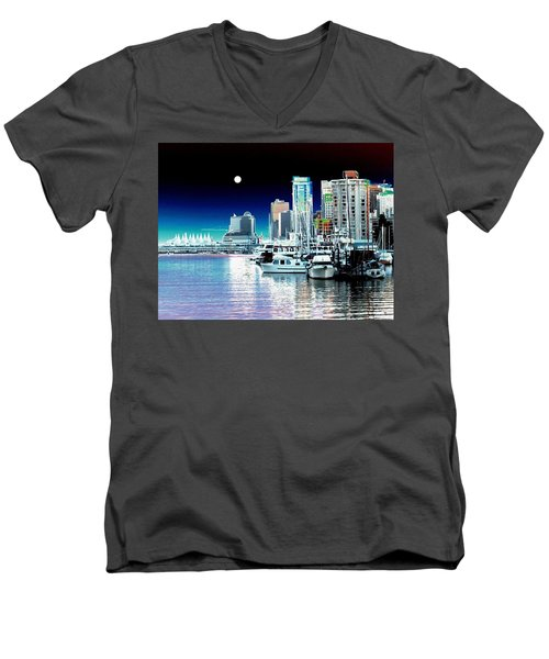 Vancouver Harbor Moonrise  Men's V-Neck T-Shirt