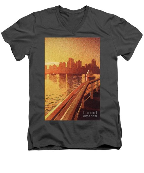 Men's V-Neck T-Shirt featuring the painting Vancouver Morning- Bc by Ryan Fox