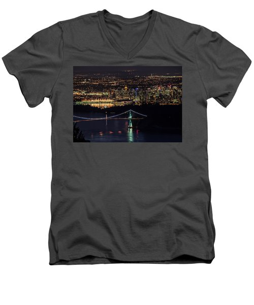 Vancouver Night From Cypress Mountain Men's V-Neck T-Shirt
