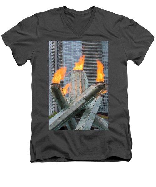 Vancouver Olympic Cauldron Men's V-Neck T-Shirt by Ross G Strachan