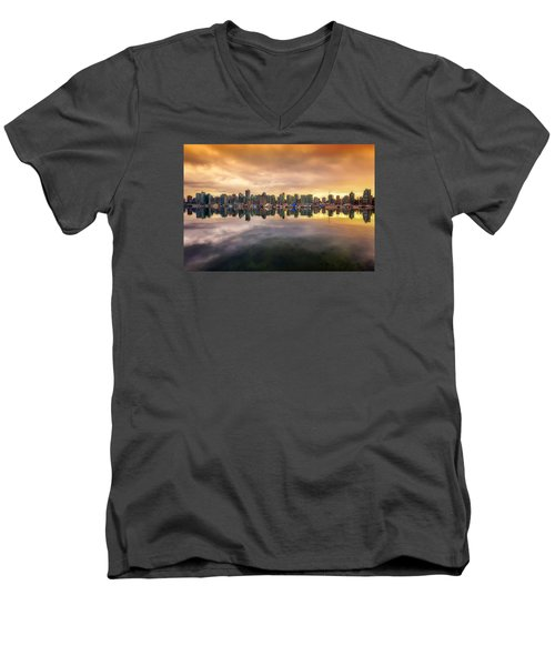 Men's V-Neck T-Shirt featuring the photograph Vancouver Reflections by Eti Reid