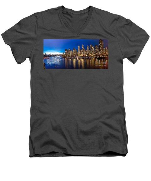 Vancouver Skyline Men's V-Neck T-Shirt by Rod Jellison