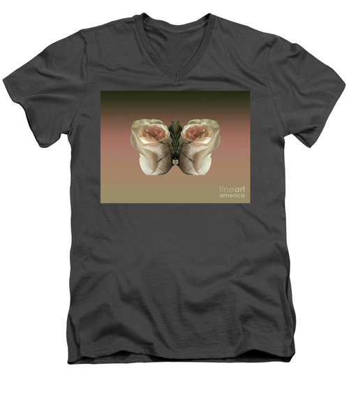 Men's V-Neck T-Shirt featuring the photograph Vanilla Butterfly Rose by Rockin Docks Deluxephotos