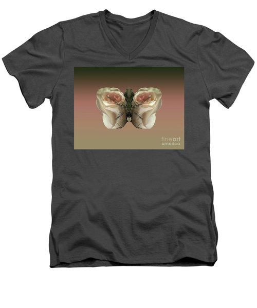 Vanilla Butterfly Rose Men's V-Neck T-Shirt