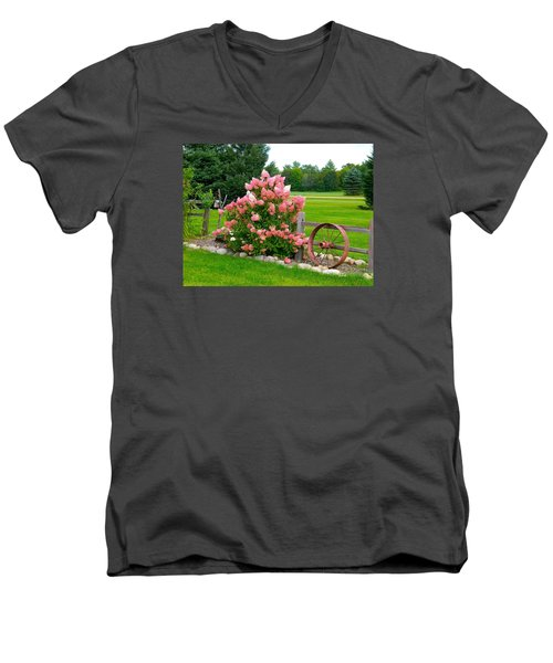 Men's V-Neck T-Shirt featuring the photograph Vanilla Strawberry Hydrangea by Randy Rosenberger