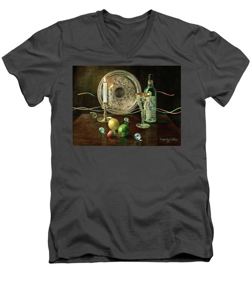 Vanitas Still Life By Candlelight With Les Bourgeois Wine Men's V-Neck T-Shirt