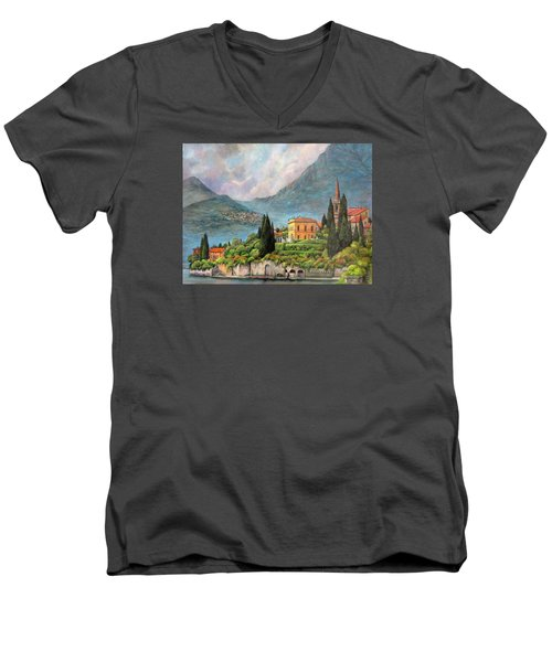 Varenna Italy Men's V-Neck T-Shirt by Donna Tucker