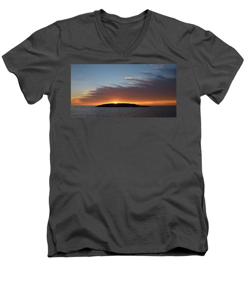 Men's V-Neck T-Shirt featuring the photograph Variations Of Sunsets At Gulf Of Bothnia 1 by Jouko Lehto