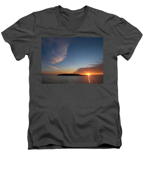 Men's V-Neck T-Shirt featuring the photograph Variations Of Sunsets At Gulf Of Bothnia 2 by Jouko Lehto