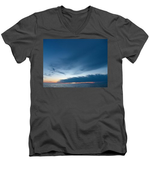 Men's V-Neck T-Shirt featuring the photograph Variations Of Sunsets At Gulf Of Bothnia 4 by Jouko Lehto
