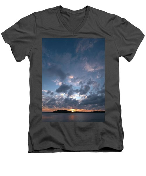 Men's V-Neck T-Shirt featuring the photograph Variations Of Sunsets At Gulf Of Bothnia 5 by Jouko Lehto