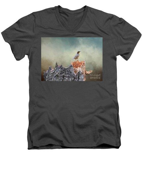 Varied Thrush On A Dead Tree Men's V-Neck T-Shirt