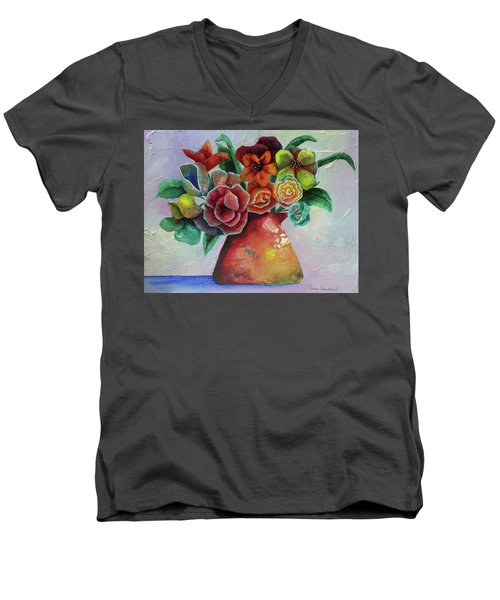 Vase Full Of Peace And Delight Men's V-Neck T-Shirt by Terry Honstead