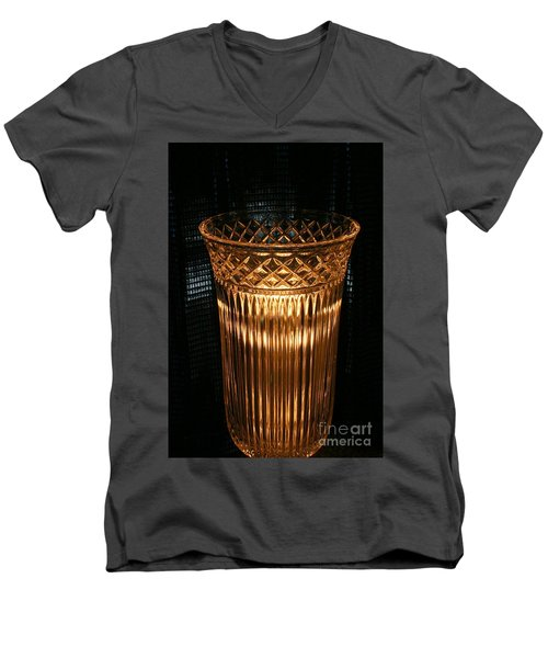 Vase In Amber Light Men's V-Neck T-Shirt by Marie Neder