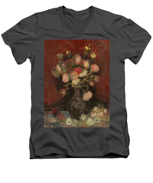 Vase With Chinese Asters And Gladioli Men's V-Neck T-Shirt