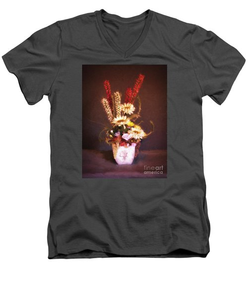 Men's V-Neck T-Shirt featuring the photograph Vase With Flowers  ... by Chuck Caramella