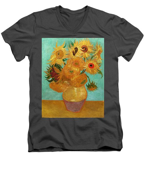 Men's V-Neck T-Shirt featuring the painting Vase With Twelve Sunflowers by Van Gogh