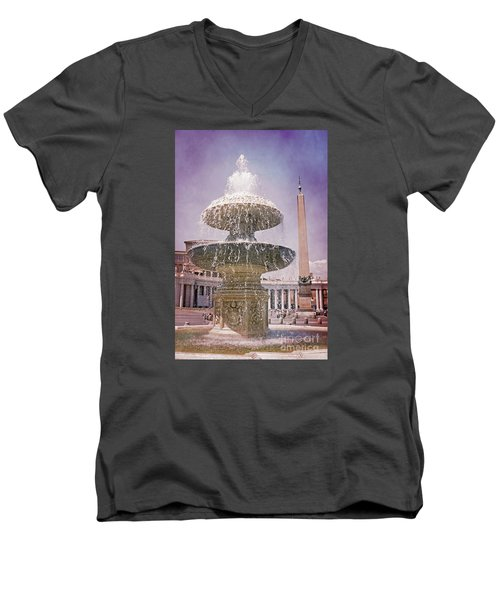 Vatican City Fountain Men's V-Neck T-Shirt