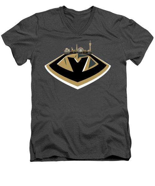 Vegas Golden Knights With Skyline Men's V-Neck T-Shirt