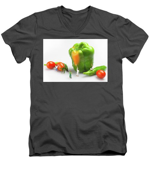 Men's V-Neck T-Shirt featuring the painting Vegetable Painting Little People On Food by Paul Ge