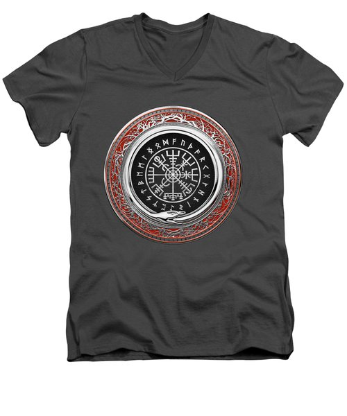 Vegvisir - A Silver Magic Viking Runic Compass On Red Leather  Men's V-Neck T-Shirt