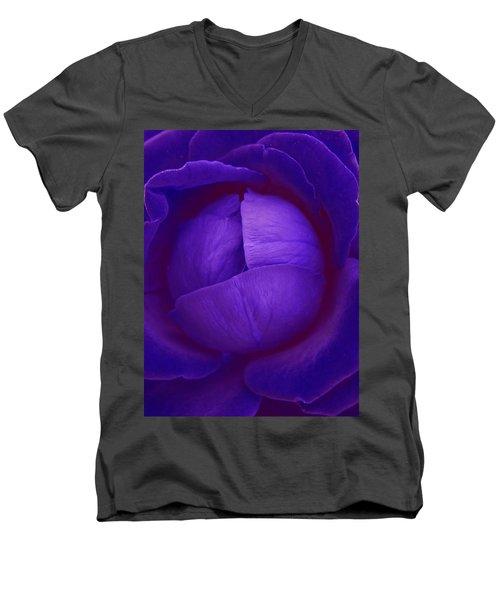 Velvet Blue Lettuce Rose Men's V-Neck T-Shirt by Samantha Thome