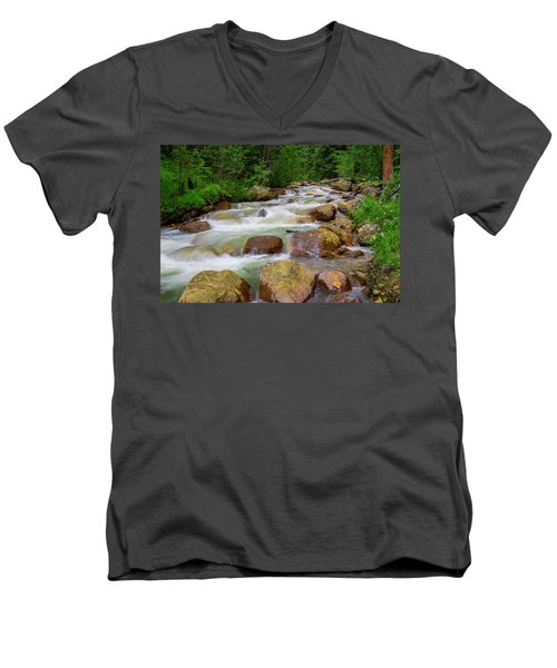 Men's V-Neck T-Shirt featuring the photograph Velvet Green Forest by Tim Reaves