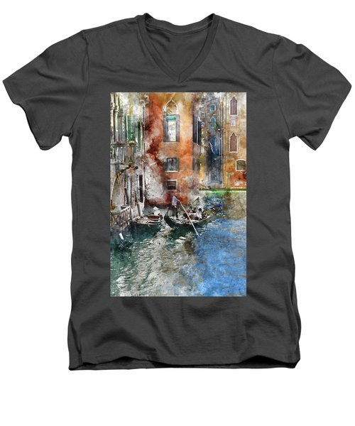Venetian Gondolier In Venice Italy Men's V-Neck T-Shirt