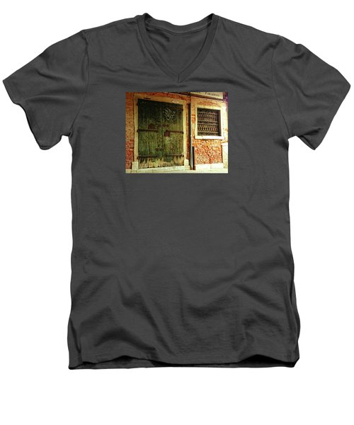 Men's V-Neck T-Shirt featuring the photograph Venetian Graffiti by Anne Kotan