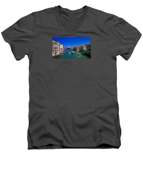 Men's V-Neck T-Shirt featuring the photograph Venetian Highway by Anne Kotan