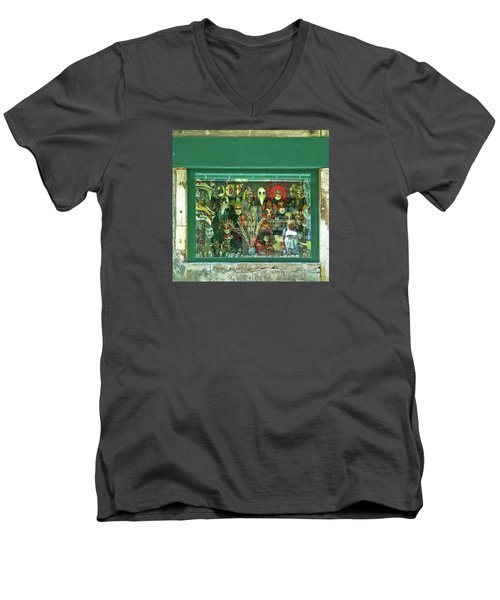 Men's V-Neck T-Shirt featuring the photograph Venetian Masks by Anne Kotan