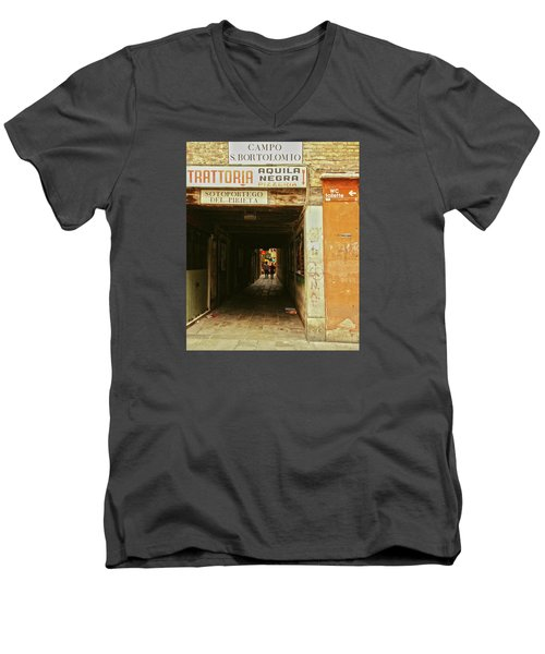 Men's V-Neck T-Shirt featuring the photograph Venetian Passage by Anne Kotan