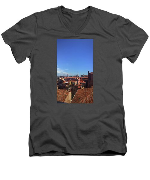 Men's V-Neck T-Shirt featuring the photograph Venetian Skyline by Anne Kotan
