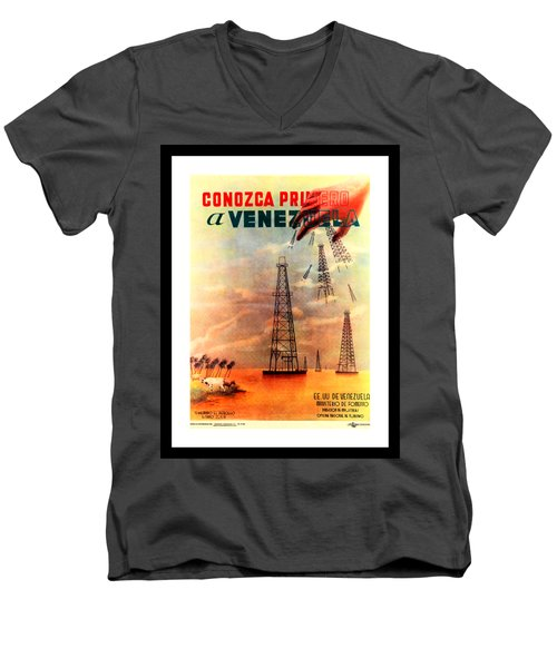Venezuela Tourism Petroleum Art 1950s Men's V-Neck T-Shirt