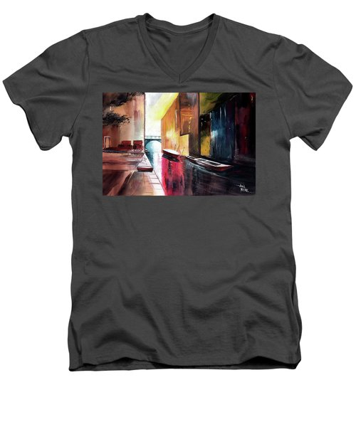 Men's V-Neck T-Shirt featuring the painting Venice 1 by Anil Nene