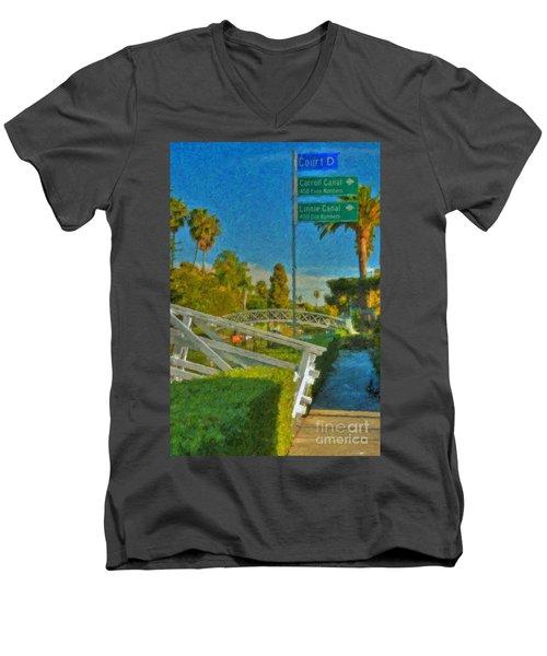 Men's V-Neck T-Shirt featuring the photograph Venice Canal Bridge Signs by David Zanzinger