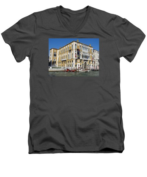 Venice Canal Building Men's V-Neck T-Shirt by Lisa Boyd