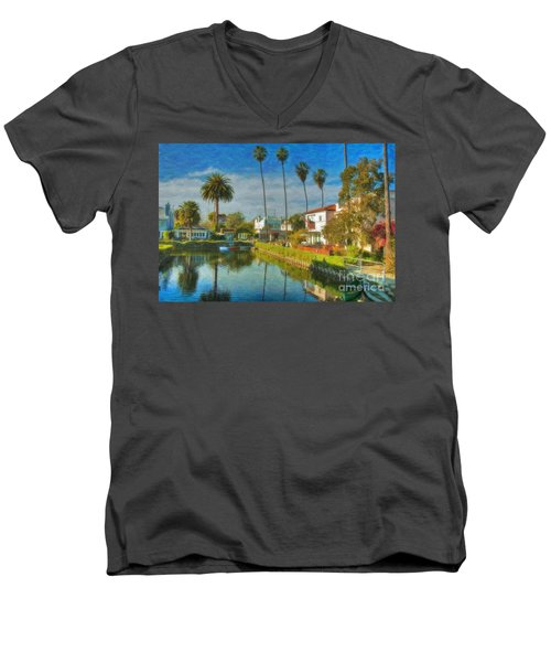 Men's V-Neck T-Shirt featuring the photograph Venice Canal Houses Watercolor  by David Zanzinger