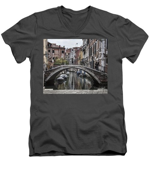 Men's V-Neck T-Shirt featuring the photograph Venice Crossing by Shirley Mangini