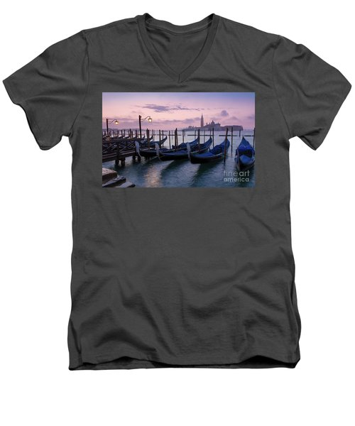 Men's V-Neck T-Shirt featuring the photograph Venice Dawn II by Brian Jannsen
