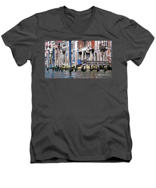 Men's V-Neck T-Shirt featuring the photograph Venice Grand Canal by Allen Beatty
