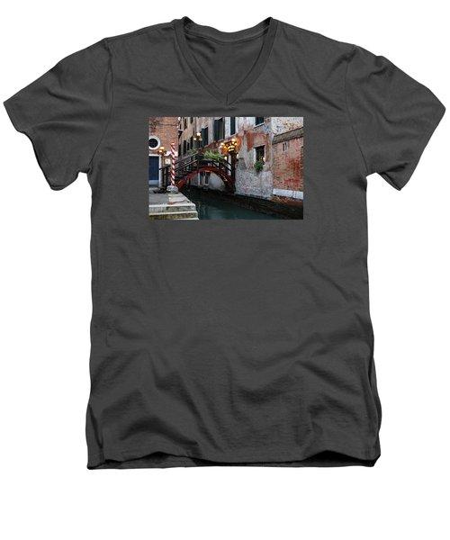 Venice Italy - The Cheerful Christmassy Restaurant Entrance Bridge Men's V-Neck T-Shirt by Georgia Mizuleva